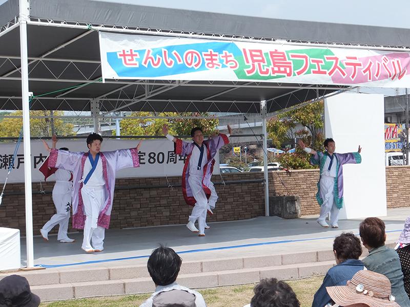 児島駅前ステージでのとこはい下津井節